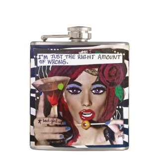 FLASK-I'M JUST THE RIGHT AMOUNT OF WRONG. HIP FLASK
