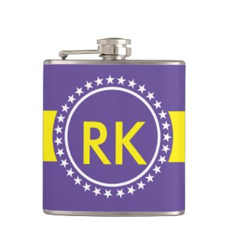 """Flask"" Purple Yellow and White Vinyl Wrapped"