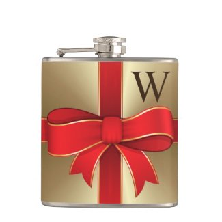 Flask - Red Bow & Ribbon on Gold