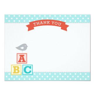 Flat Baby Shower Thank You Card   ABC Blocks