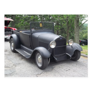 flat black 1940's antique classic car postcard