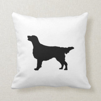 Flat Coated Retreiver Hunting dog Silhouette Pillows