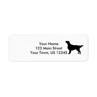 Flat Coated Retreiver Hunting dog Silhouette Return Address Label