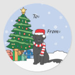 Flat-Coated Retriever and Christmas Tree Sticker