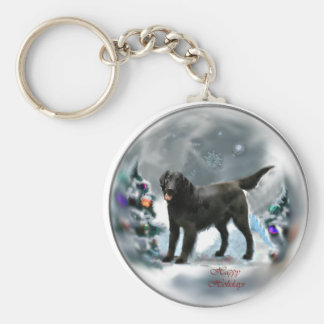 Flat-Coated Retriever Christmas Gifts Keychain