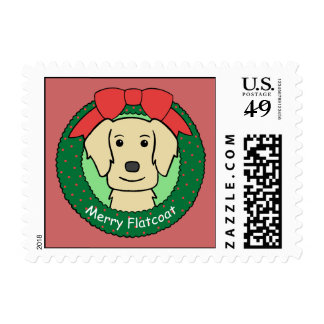 Flat-Coated Retriever Christmas Stamps