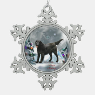 Flat-Coated Retriever Christmas Snowflake Pewter Christmas Ornament