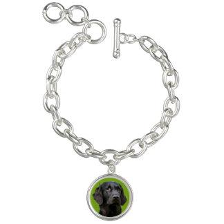 Flat Coated Retriever dog, black beautiful photo Charm Bracelet