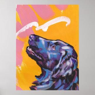 Flat-coated retriever dog bright pop art poster