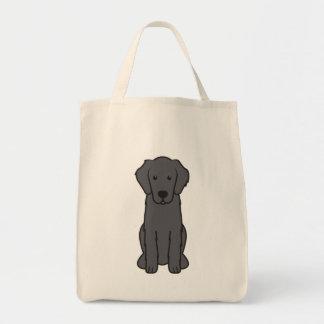 Flat Coated Retriever Dog Cartoon Grocery Tote Bag