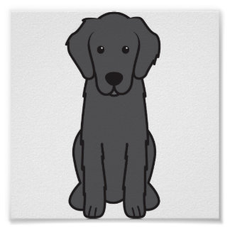 Flat Coated Retriever Dog Cartoon Poster