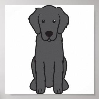 Flat Coated Retriever Dog Cartoon Poster