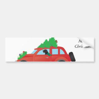 Flat-Coated Retriever Dog Driving Christmas Car Bumper Sticker