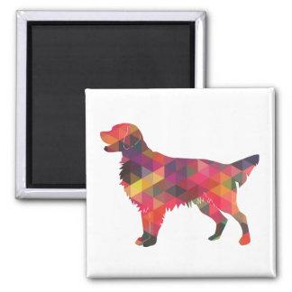 Flat Coated Retriever Dog Geometric Silhouette Magnet