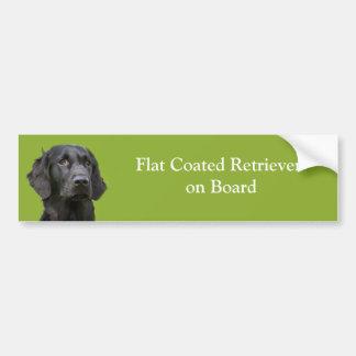 Flat Coated Retriever dog on board black photo Bumper Sticker