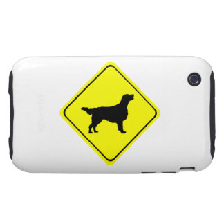 Flat Coated Retriever Dog Silhouette Crossing Sign iPhone 3 Tough Cases