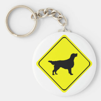 Flat Coated Retriever Dog Silhouette Crossing Sign Keychain