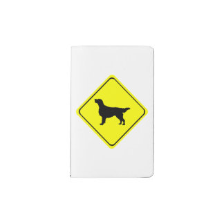 Flat Coated Retriever Dog Silhouette Crossing Sign Pocket Moleskine Notebook Cover With Notebook