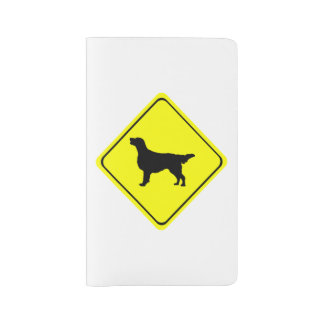 Flat Coated Retriever Dog Silhouette Crossing Sign Large Moleskine Notebook Cover With Notebook