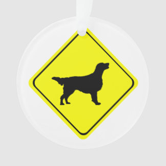 Flat Coated Retriever Dog Silhouette Crossing Sign Ornament