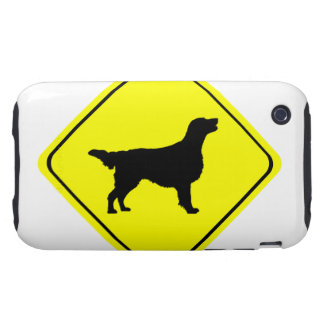 Flat Coated Retriever Dog Silhouette Crossing Sign Tough iPhone 3 Cases