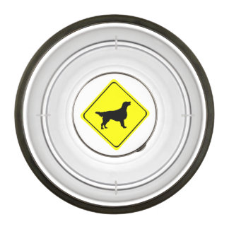 Flat Coated Retriever Dog Silhouette Crossing Sign Pet Bowl