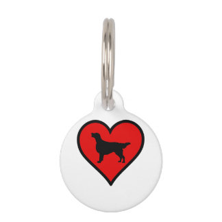 Flat-Coated Retriever Heart Love Dogs Pet Tag