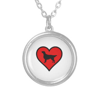 Flat-Coated Retriever Heart Love Dogs Silver Plated Necklace