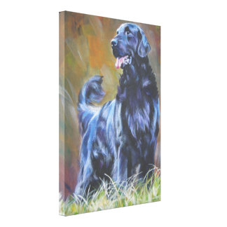 Flat-Coated Retriever  on Stretched Canvas Canvas Print