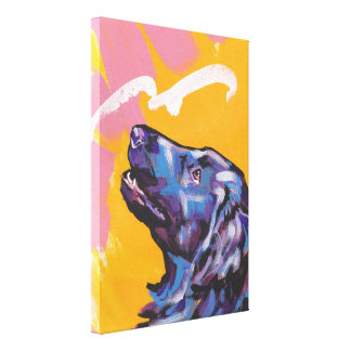 Flat-Coated Retriever Pop Art on Stretched Canvas Canvas Print