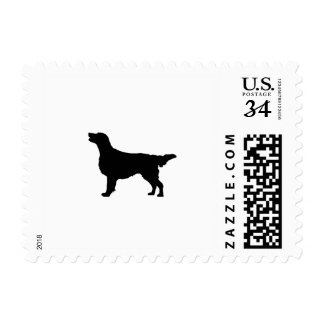 Flat-Coated Retriever Silhouette Love Dogs Postage