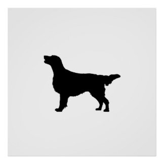 Flat-Coated Retriever Silhouette Love Dogs Poster