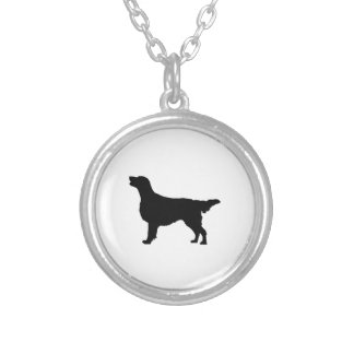 Flat-Coated Retriever Silhouette Love Dogs Silver Plated Necklace