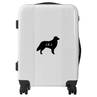 Flat Coated Retriever Silhouette Personalized Luggage