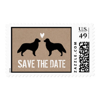 Flat Coated Retriever Silhouettes Save the Date Postage