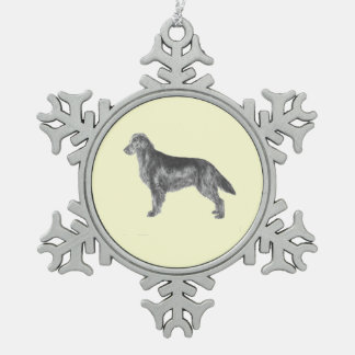 Flat Coated Retriever Snowflake Pewter Christmas Ornament