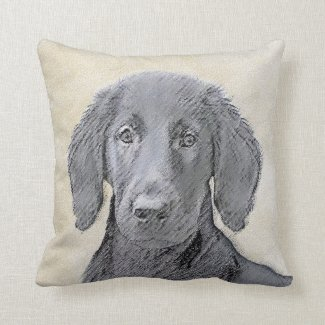 Flat-Coated Retriever Throw Pillow