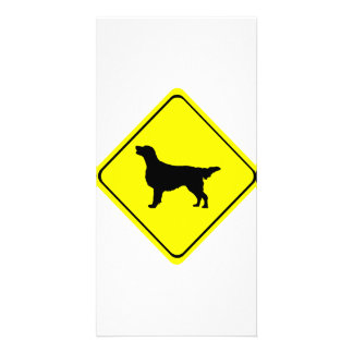 Flat-Coated Retriever Warning Sign Love Dogs Card