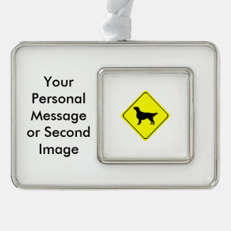 Flat-Coated Retriever Warning Sign Love Dogs Christmas Ornament