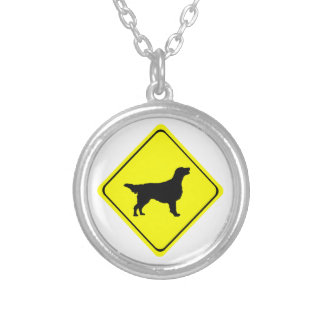 Flat-Coated Retriever Warning Sign Love Dogs Silver Plated Necklace