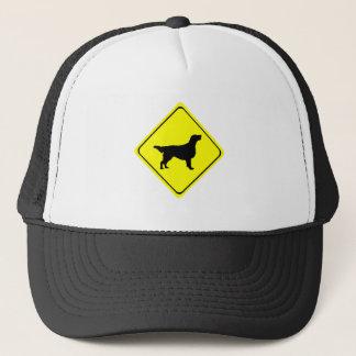 Flat-Coated Retriever Warning Sign Love Dogs Trucker Hat