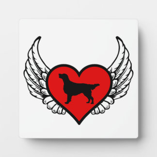Flat-Coated Retriever Winged Heart Love Dogs Plaque