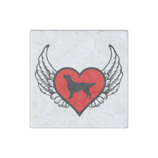 Flat-Coated Retriever Winged Heart Love Dogs Stone Magnet