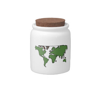 Flat Continents Map Candy Dishes
