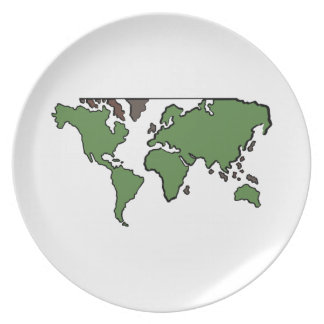 Flat Continents Map Party Plate