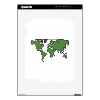 Flat Continents Map iPad 2 Skin