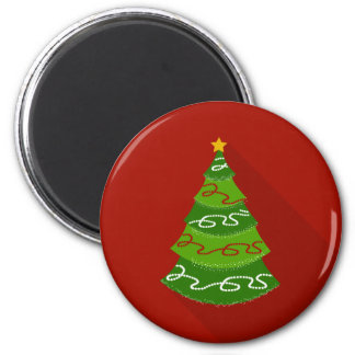Flat Design Christmas Tree 2 Inch Round Magnet