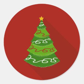 Flat Design Christmas Tree Classic Round Sticker