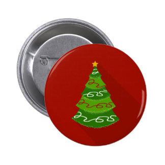 Flat Design Christmas Tree Pinback Button