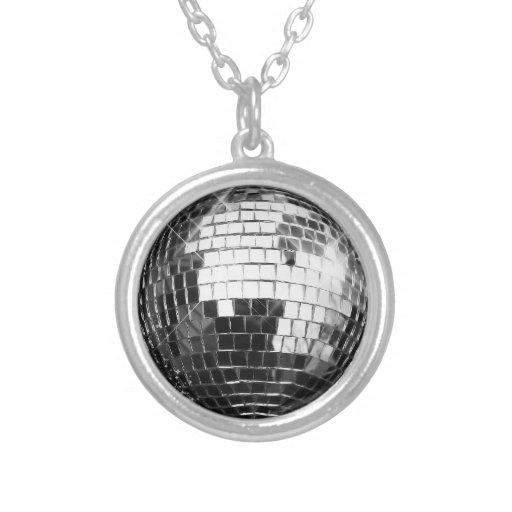Flat Disco Ball Image Pendant Necklace